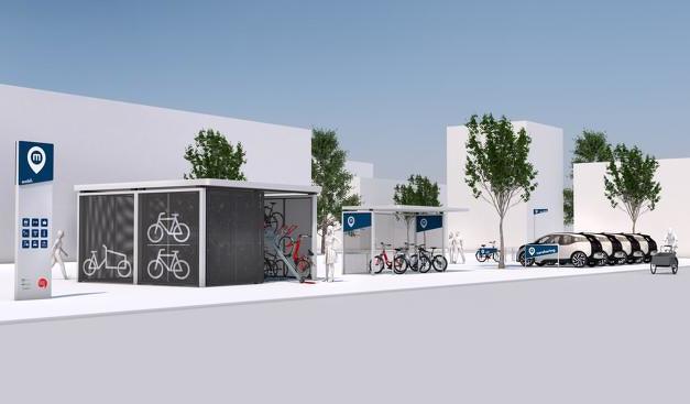 Exemplarische Mobilitätsstation im Design KielRegion